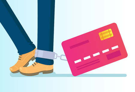Illustrazione per Big credit card tied to leg with chains. Money credit wealth dependance addiction. Vector flat cartoon isolated illustration - Immagini Royalty Free