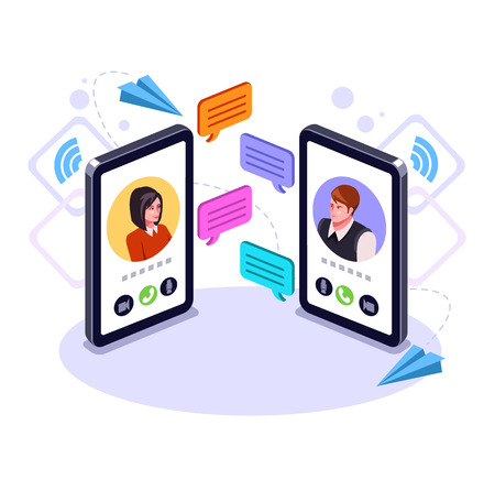 Illustrazione per Two people man and woman character talking to a smart phone. Online communication email message concept. Video call business chat. Vector flat graphic design cartoon isolated illustration - Immagini Royalty Free