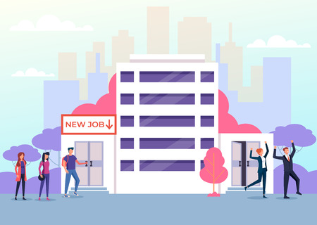 Illustration pour Candidates people character standing on line and finding new job. Recruitment employment human resources concept. Vector flat graphic design cartoon isolated illustration - image libre de droit