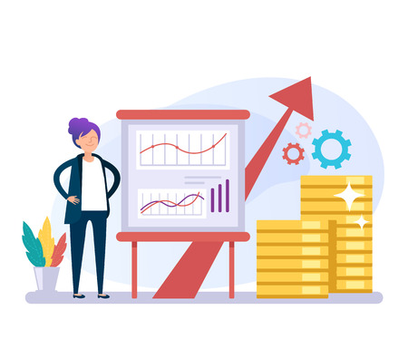 Illustration pour Business woman office worker character perform business plan ides. Successful business concept. Vector flat graphic design cartoon isolated illustration - image libre de droit