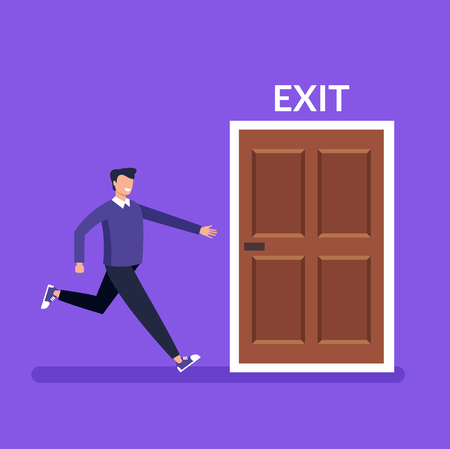 Illustration for Man character running fast to door exit. Vector design graphic flat cartoon isolated illustration - Royalty Free Image