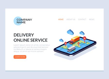 Ilustración de Fast online delivery service business concept web banner page. Vector flat cartoon graphic design illustration - Imagen libre de derechos