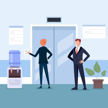 Illustration pour Elevator in business center Business life concept. Vector flat cartoon graphic design illustration - image libre de droit