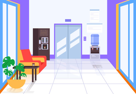 Illustration for Business center hall with elevator and coffee machine. Business life building concept. Vector flat cartoon graphic design illustration - Royalty Free Image