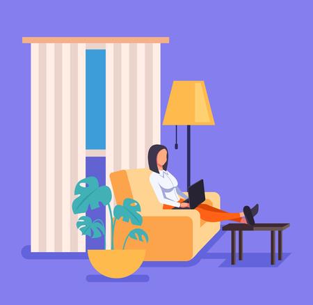 Illustration pour Woman freelancer worker working at home in living room. Vector flat cartoon graphic design illustration - image libre de droit