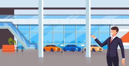 Illustration pour Sale seller man character present new cars. Transport shop store concept. Vector design flat graphic cartoon illustration - image libre de droit