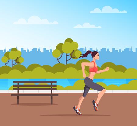 Ilustración de Woman character running in public park. Sport lifestyle concept. Vector design flat graphic cartoon illustration - Imagen libre de derechos