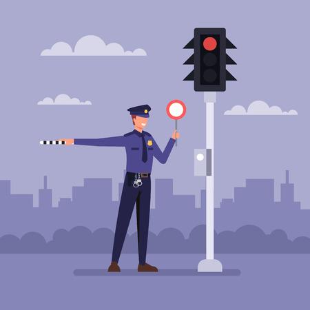 Illustration pour Policemen near traffic light. Vector flat graphic design cartoon illustration - image libre de droit
