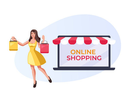 Illustration for Happy smiling woman holding purchases bags. Online internet shopping concept. Vector flat cartoon graphic design illustration - Royalty Free Image
