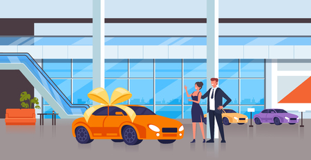 Illustration pour Man character gift new car to his wife. Vector flat cartoon graphic design isolated illustration - image libre de droit