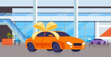 Illustration pour New car on salon shop. Vector flat cartoon graphic design isolated illustration - image libre de droit