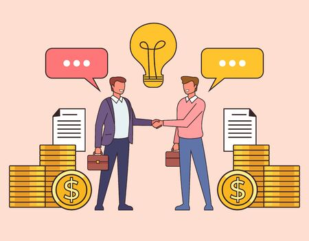 Ilustración de Business deal agreement line art concept. Vector flat cartoon graphic design isolated illustration - Imagen libre de derechos