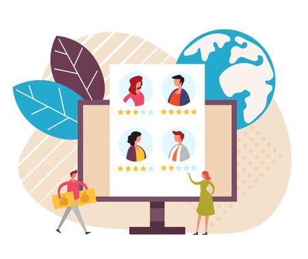 Ilustración de Resume feedback work review rating concept. Vector flat cartoon graphic design illustration - Imagen libre de derechos