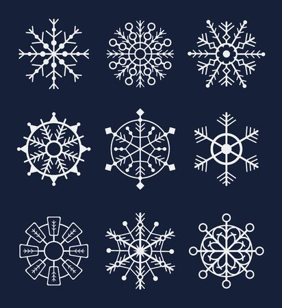 Illustration for Snowflake winter isolated set on dark background. Vector graphic design isolated illustration - Royalty Free Image