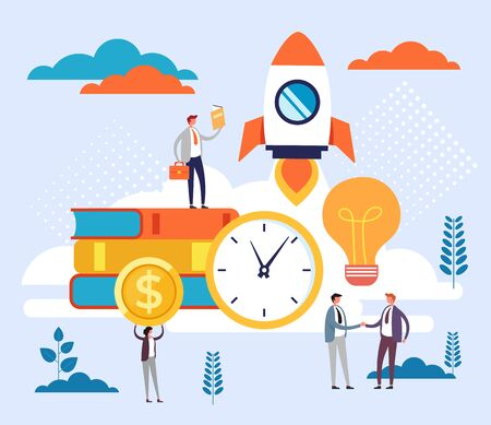 Ilustración de Start up new business project concept. Vector flat cartoon graphic design illustration - Imagen libre de derechos