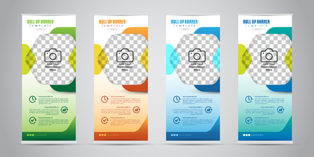 Illustration pour Business Roll Up Banner with 4 Various Color. Standee Design. Banner Template. Vector Illustration - image libre de droit