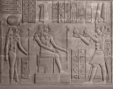Photo for ancient stone relief at Chnum temple in Egypt - Royalty Free Image
