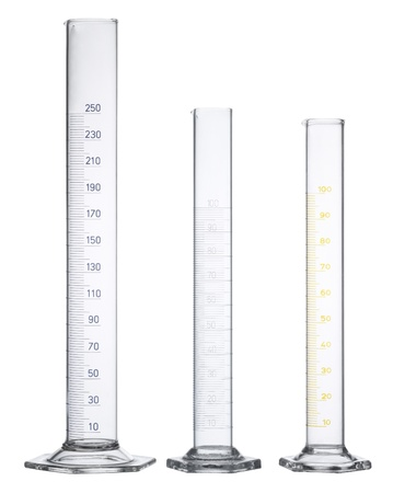 3 empty measuring cylinders made of glass in white back