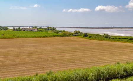 Photo for Scenery near salt evaporation pond in the Camargue area in southern France - Royalty Free Image