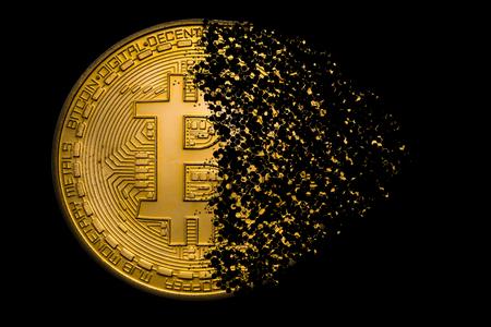 Foto de golden bitcoin explosion - Imagen libre de derechos