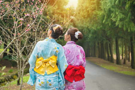 Photo for Travel tourist women standing watching cherry-blossom at sakura park, japan. Asian girlfriends looking at pink flowers and wearing japan traditional clothing kimono. Back view and copy space. - Royalty Free Image