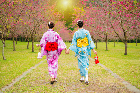Foto de wearing pretty kimono japan girls walking together hand in hand on the cherry tree garden enjoying view the blooming pink flowers in the summer afternoon time. - Imagen libre de derechos