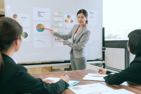 Photo pour professional smiling company manager woman using whiteboard showing graph and explaining planning with colleague when they meeting in office. - image libre de droit
