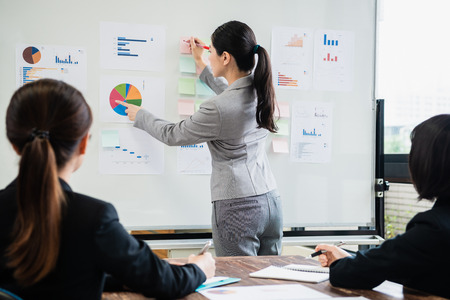 Foto de a young businesswoman is standing in front of the whiteboard and giving the presentation. - Imagen libre de derechos