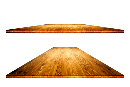 Photo pour Empty wooden table with clipping mask for product placement or montage on white background. Wooden board empty table perspective. - image libre de droit