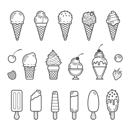 Illustration pour Vector icon set of yummy ice cream. Collection of different flavours and kinds - image libre de droit