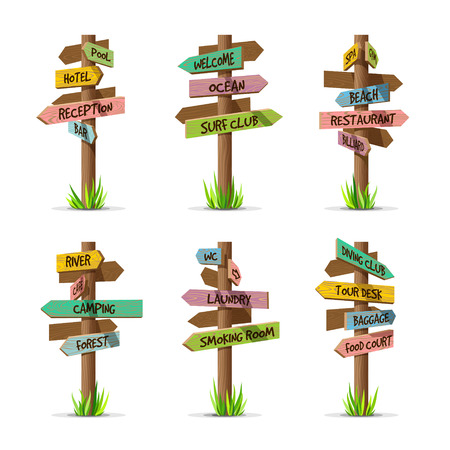 Illustration pour Colored wooden arrow signboards resort vector set. Wood sign post concept with grass. Board pointer illustration with text isolated on a white background - image libre de droit