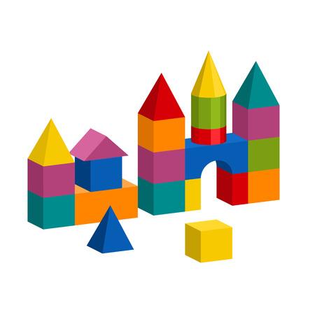 Ilustración de Bright colorful wooden blocks toy. Bricks childrens building tower, castle, house. Vector volume style illustration isolated on white background. - Imagen libre de derechos