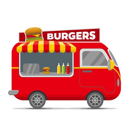 Illustration pour Burgers street food caravan trailer. Colorful vector illustration, cartoon style, isolated on white background - image libre de droit