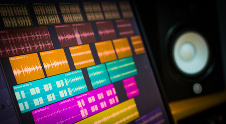 Photo for colorful digital waveform on computer monitor and studio speakers for sound recording concept - Royalty Free Image