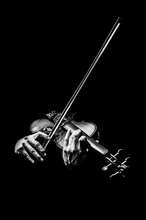 Photo for Black and white male violinist hands playing violin, music background - Royalty Free Image