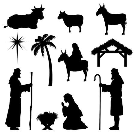 Illustration pour Nativity scene icons. Very easy to change colour. - image libre de droit