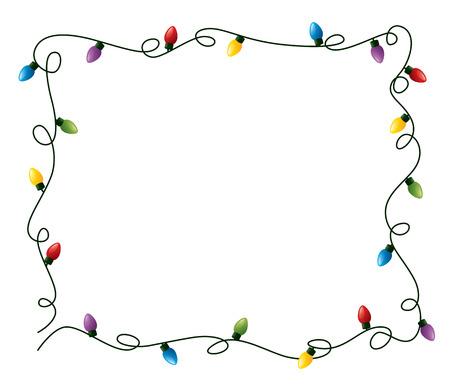 Ilustración de Curly fairy lights frame. - Imagen libre de derechos