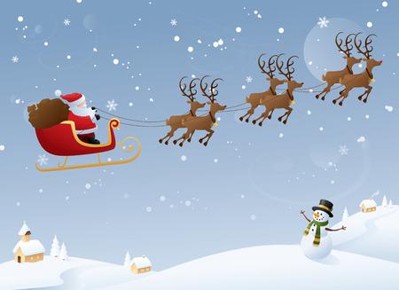 Illustration pour Santa on his yearly journey. - image libre de droit
