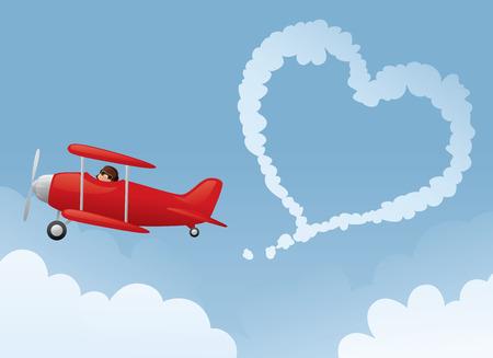 Ilustración de Red biplane drawing a heart in the sky. - Imagen libre de derechos