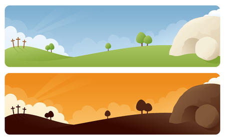 Illustration pour Resurrection scene banners in daylight and sunrise/sunset. - image libre de droit
