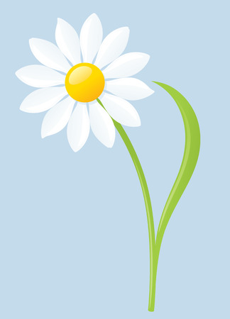 Ilustración de Single white daisy on blue background. - Imagen libre de derechos