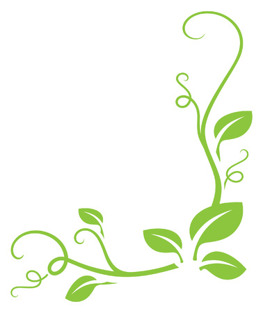 Illustration for Simple green gradient free leafy border. Easy to change colour. - Royalty Free Image