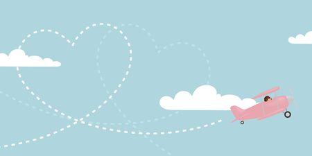 Ilustración de A pink biplane trailing a heart in the sky. - Imagen libre de derechos