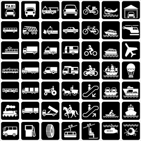 set of silhouette of icons with various symbols transports