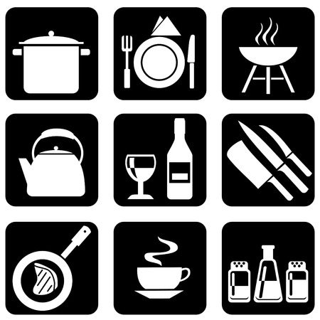 set of silhouettes of icons on the food theme