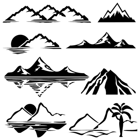 set of icons of silhouettes of the mountains