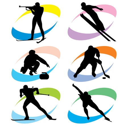 set of silhouette icons of the winter sport