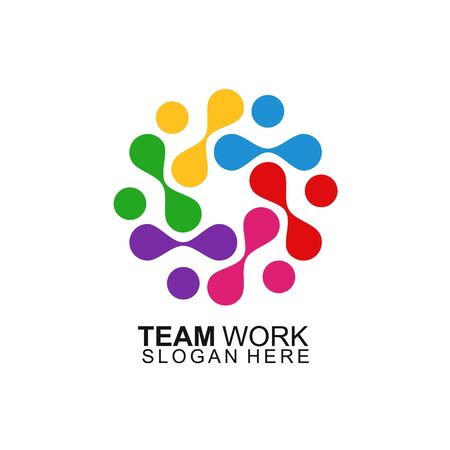 Team Work Logo Design. Modern Social Network Team Logo Design
