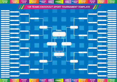 Ilustración de Sport fixture and result template for final round 128 teams knockout competition. Vector EPS10 - Imagen libre de derechos