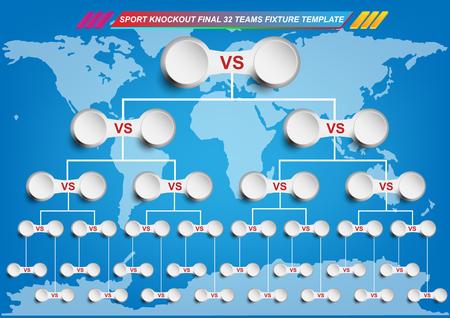 Ilustración de Sport fixture and result template for final round 32 teams knockout competition and world map background. - Imagen libre de derechos